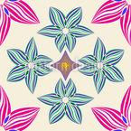 Simetria E Flores Design de padrão vetorial sem costura
