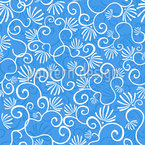 Curlicue With Flowers  Seamless Vector Pattern Design