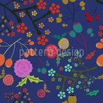 Oliven Und Blumen Nahtloses Vektormuster