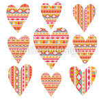 Tribal  Hearts Seamless Vector Pattern Design