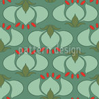 Art Nouveau Tulip Seamless Vector Pattern
