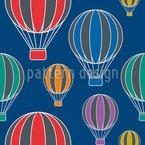 Ballonfahrt In Der Nacht Nahtloses Vektormuster