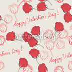 Valentines Day Roses Seamless Vector Pattern Design