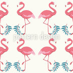Danza de Flamingo Estampado Vectorial Sin Costura