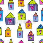 Liebe Häuser Vektor Ornament