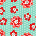 Flower Power And Dots Vector Pattern