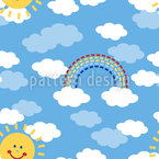 Sunshine And Rainbows Seamless Vector Pattern Design