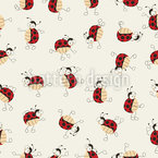Cartoon Ladybugs Dancing Seamless Vector Pattern Design