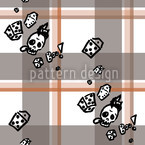 Checked Pattern With Skulls Seamless Vector Pattern Design