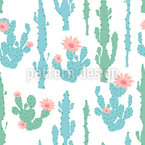 Blooming Cactus Seamless Vector Pattern Design