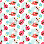 Flowers And Ladybugs Seamless Vector Pattern Design