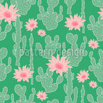 Cactus In Bloom Seamless Vector Pattern Design