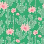 Kaktus Blüte Nahtloses Vektormuster