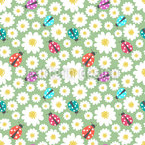 Ladybugs Love Flowers Seamless Vector Pattern Design