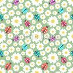 Marienkäfer Lieben Blumen Nahtloses Vektormuster