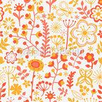 Sommerblumen Am Morgen Nahtloses Vektormuster