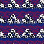 Skully Blau Nahtloses Vektormuster