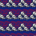 Skully Blue Vector Pattern