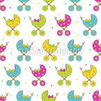Baby Buggy Parade Seamless Vector Pattern Design