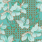 Oriental Blossoms Seamless Vector Pattern Design