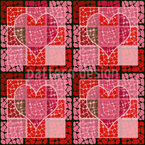 Heart To The Square Seamless Vector Pattern Design