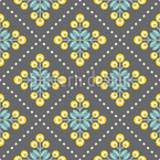 Retro Patchwork Flowers Seamless Vector Pattern Design