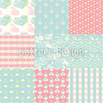 Patchwork Amor Estampado Vectorial Sin Costura