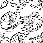 Tiger Black and White Seamless Vector Pattern Design