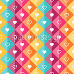 Hearts In Diamonds Seamless Vector Pattern Design