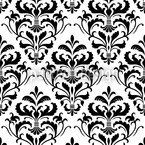 Black White Baroque Seamless Vector Pattern Design