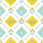 Retro Folk Flowers Seamless Vector Pattern Design