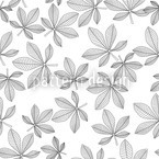 Chestnut Leaves Black and White Seamless Vector Pattern Design