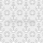 Anchor And Life Buoy Seamless Vector Pattern Design