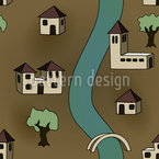 Village Without People Seamless Vector Pattern Design