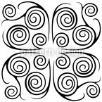 Jorinde Spirals Black and White Seamless Vector Pattern Design