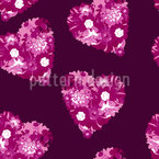 Floral Hearts Seamless Vector Pattern Design