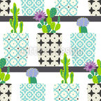 Cactus Pots On Shelves Seamless Vector Pattern Design