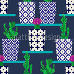 Cacti On Shelves Seamless Vector Pattern Design
