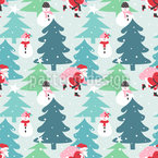 Busy Santa Claus Seamless Vector Pattern Design