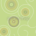 Aboriginal Twirls Green Seamless Vector Pattern Design