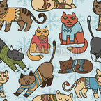 Winter Cats Seamless Vector Pattern Design