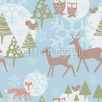 Winter Forest Seamless Vector Pattern Design