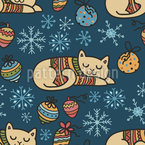 Dreaming Winter Cats Seamless Vector Pattern