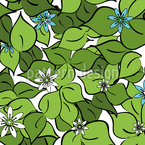 Florets On Foliage Seamless Vector Pattern Design