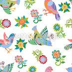 Vögel Und Blumen Rapportmuster