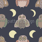 Owl Moonwalk Seamless Vector Pattern Design