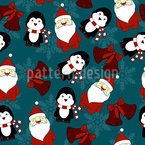 Santas Little Helper Seamless Vector Pattern Design
