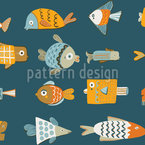 Funny Fish Seamless Vector Pattern Design