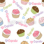 Ich Liebe Cupcakes Nahtloses Vektormuster
