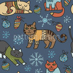 Christmas Cats Seamless Vector Pattern Design